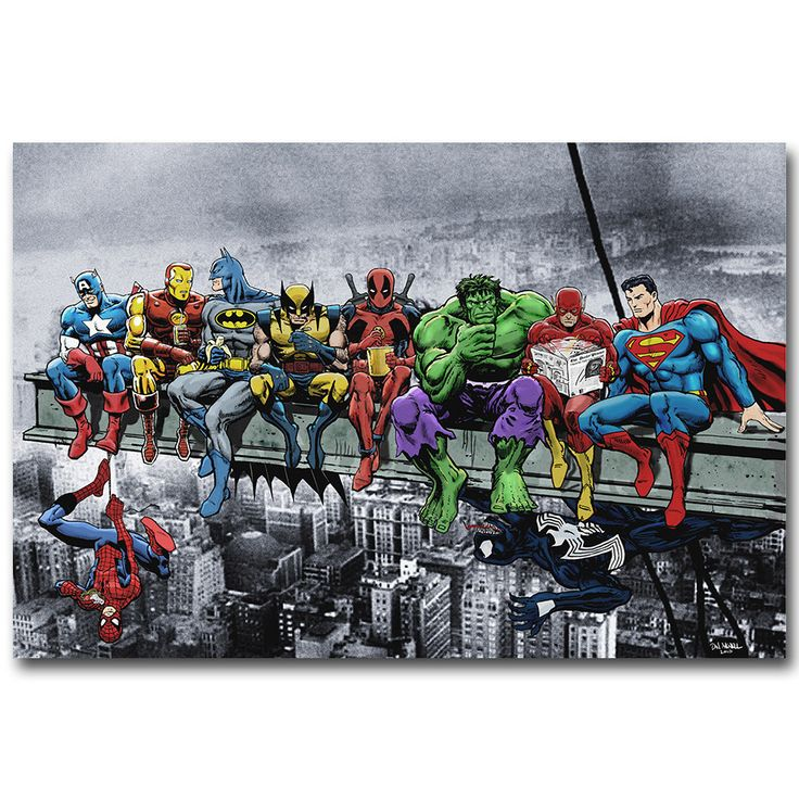 Pop Cultuur Lunch Bovenop een Wolkenkrabber Grappige Art Silk Poster Print Deadpool Hulk Batman Justice League Superheld Anime Muur Foto
