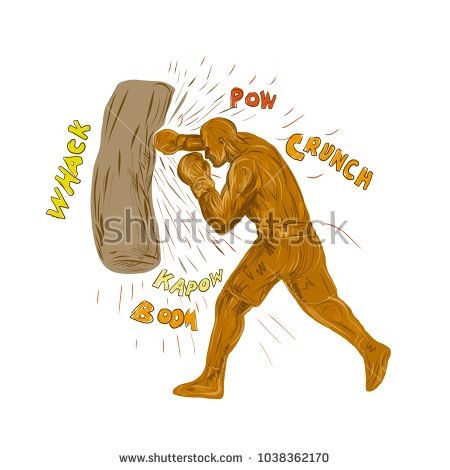Drawing sketch style illustration of a boxer boxing punching hitting the punching bag with words pow, whack, kapow, boom, crunch on isolated background.   #boxing #drawing #illustration