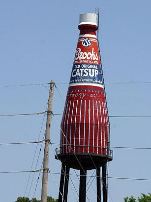 It's said this 170-ft.-tall (50 m) water tower could hold up to 640,000 14 oz. bottles of ketchup. The Collinsville, Illinois water tower was built in 1949 for the G.S. Suppiger ketchup-bottling plant, bottlers of Brooks Rich & Tangy Ketchup. It reads catsup after the original Brooks bottle. Brooks left the town in the 1970s, but the well-loved bottle remains.