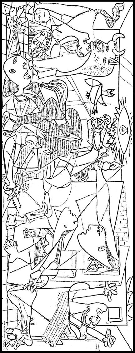 Coloreamos el Guernica de Picasso | Actiludis Includes different sizes. You could have a smaller sized class work on one large piece by coloring then gluing together