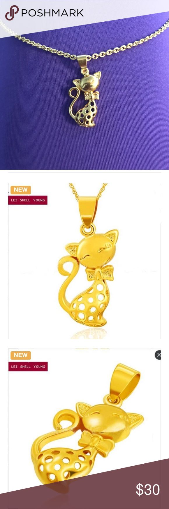 """Kitty necklace 10K gold plated Super cute. 18"""" chain. 1"""" pendant. Jewelry Necklaces"""