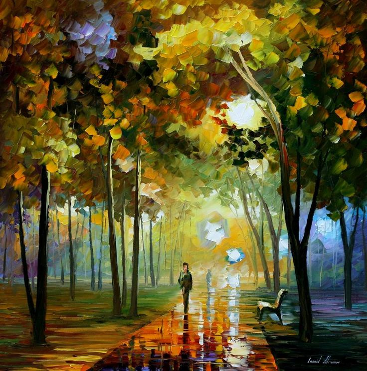 October Reflections — PALETTE KNIFE Oil Painting On Canvas By Leonid Afremov