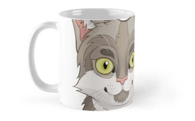 Gray Cartoon Cat Mugs by AnMGoug on Redbubble. #mug #cat #coffee
