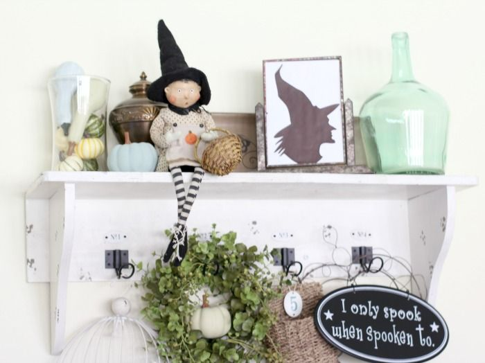 Fall vignette.  Cottage shelf.