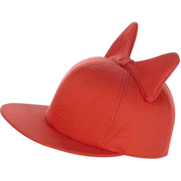Federica Moretti Coral Cat Ears Peaked Cap ($190) ❤ liked on Polyvore
