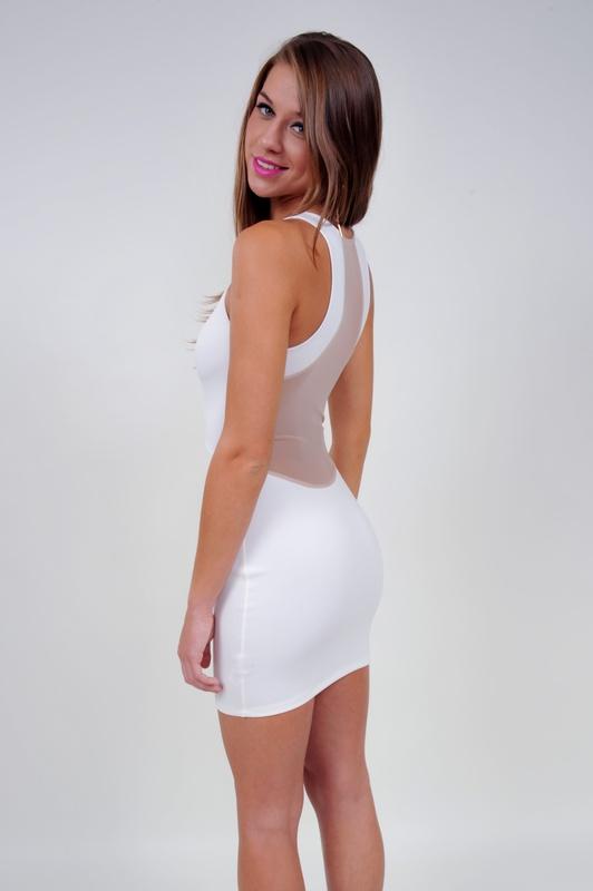 Mod White Mesh Back Dress