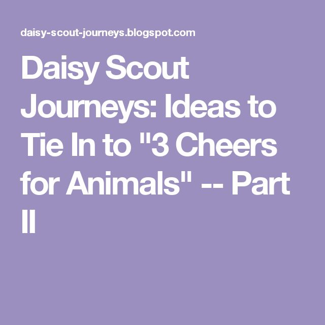 "Daisy Scout Journeys: Ideas to Tie In to ""3 Cheers for Animals"" -- Part II"
