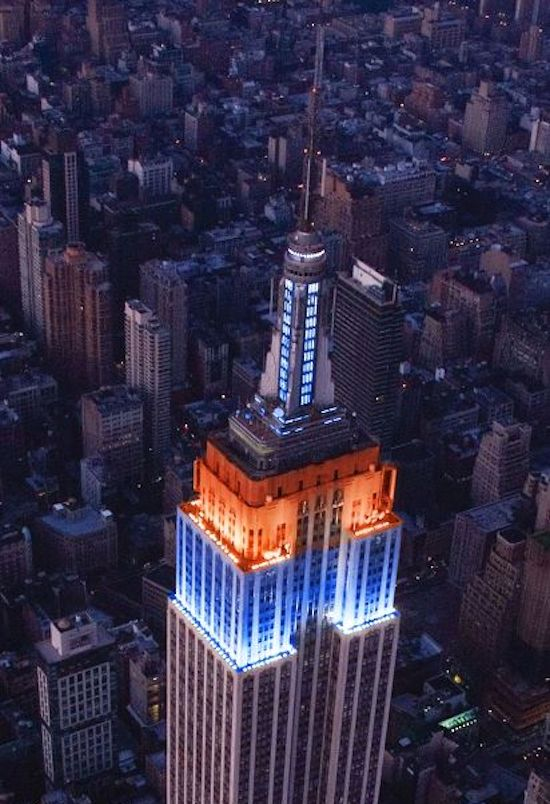 Empire State Building illuminated in memory of the late New York Mets catcher Gary Carter.