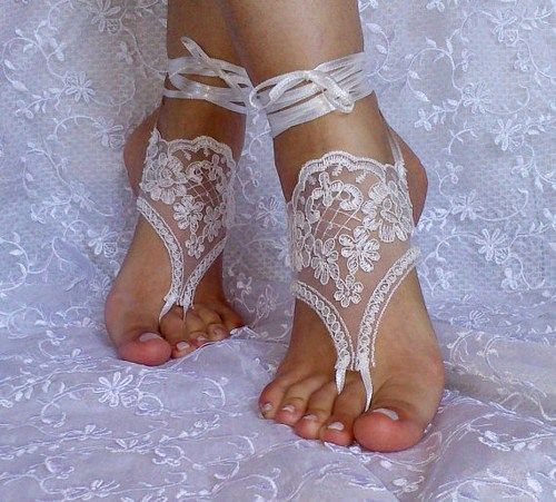 Barefoot Sandals, french lace, Nude shoes, Foot jewelry,Wedding