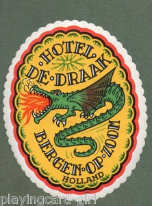 Old Holland hotel luggage label, fire-breathing dragon | eBay
