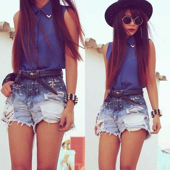 .: Chiffon Blouses, Denim Jeans, Summer Looks, Blue, Outfit, Jeans Shorts, Retro Style, Denim Shorts, High Waist Shorts