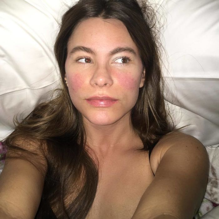 sofia-vergara Celebrities w/o makeup. These women are still beautiful but the veil of perfection dropping is a good thing for both men and women.