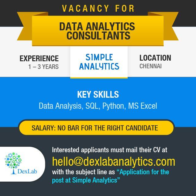 Vacancy for #DataAnalytics Consultants