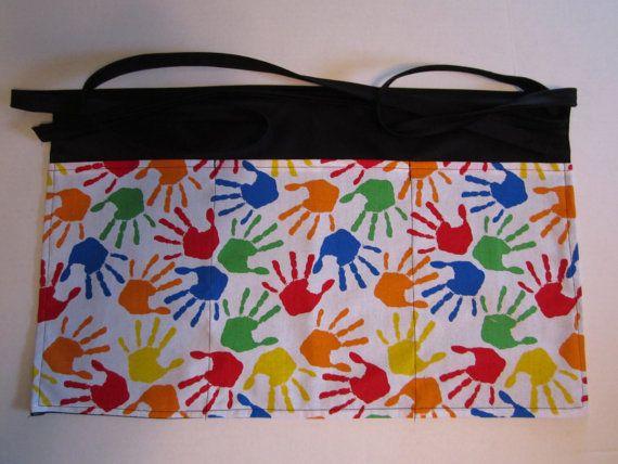 Children Hand prints Aprons, Teacher aprons, Daycare provider Aprons , Personalized Teacher Aprons, Crayon colors Apron, 3 Pockets Aprons