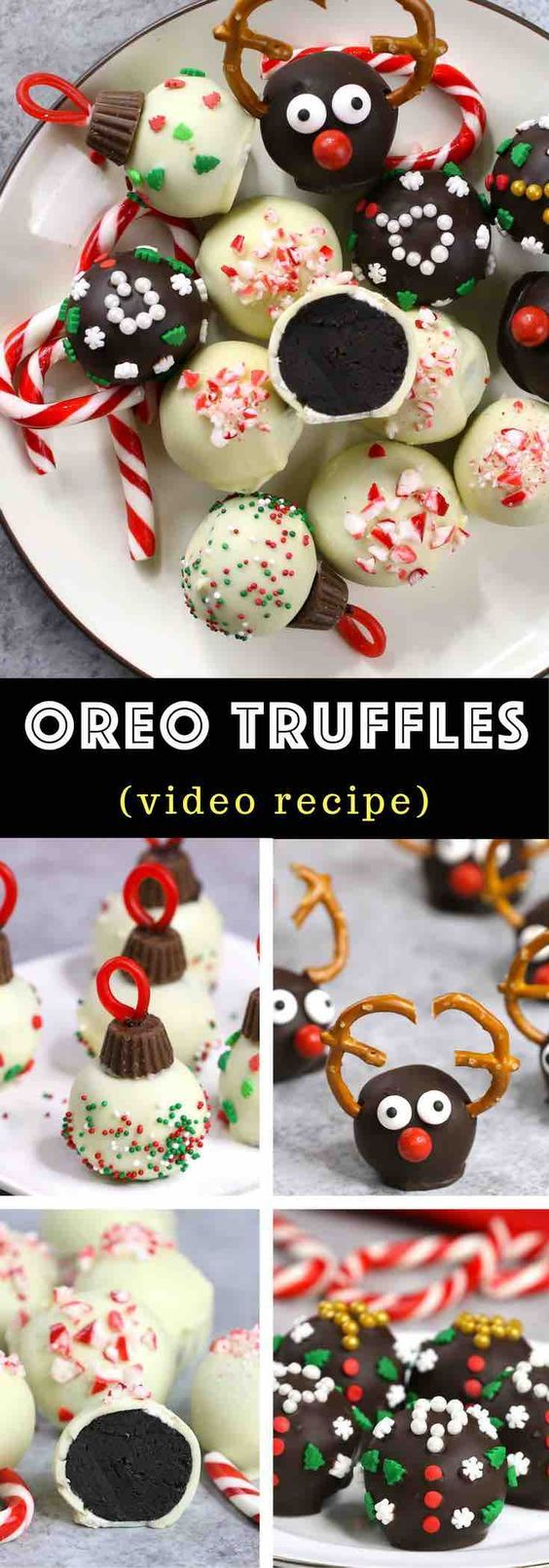 Holiday Oreo Truffles 4 Ways - the easiest and most delicious bite size oreo truffle, perfect for a holiday party or as holiday gifts. Reindeer oreo truffles, Peppermint oreo truffles, Christmas Tree Ornament Oreo Truffles and Ugly Christmas Sweater Oreo Truffles. Video Recipe. tipbuzz.com