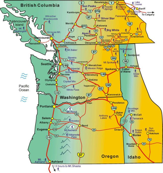 pacific northwest ski areas map with washington state, oregon