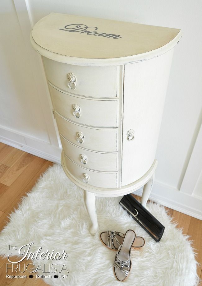 Curved Floor Standing Jewelry Armoire Makeover   The Interior Frugalista