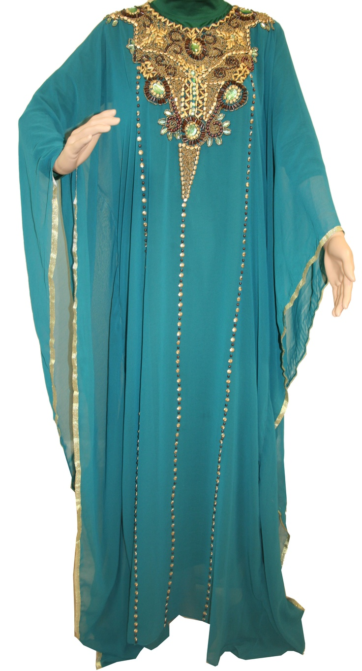 Chiffon Turquoise Kaftan