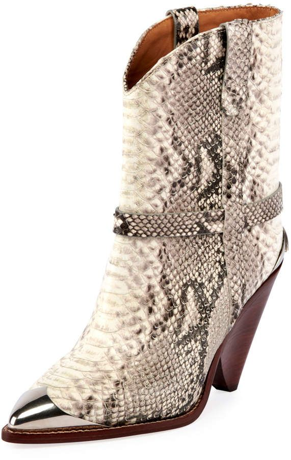 b80537bed Lamsy Low Snake-Print Leather Western Boots in 2019 | Products | Snake  print boots, Boots, Snake boots