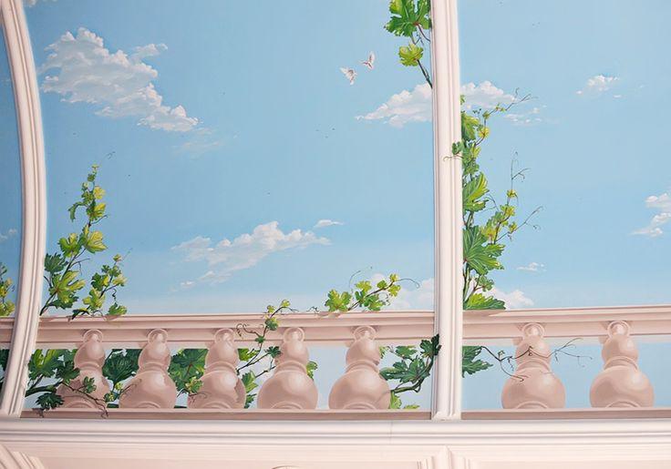 Роспись потолка в бассейне, венецианская штукатурка под мрамор