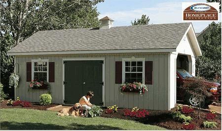 Home Place Structure Keystone Wood Garage Kit 14 x 24 - Suncast