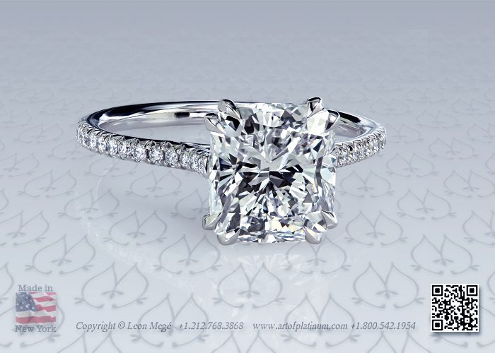 Stunning! A modern cushion solitaire engagement ring with micro pave by Leon Megé