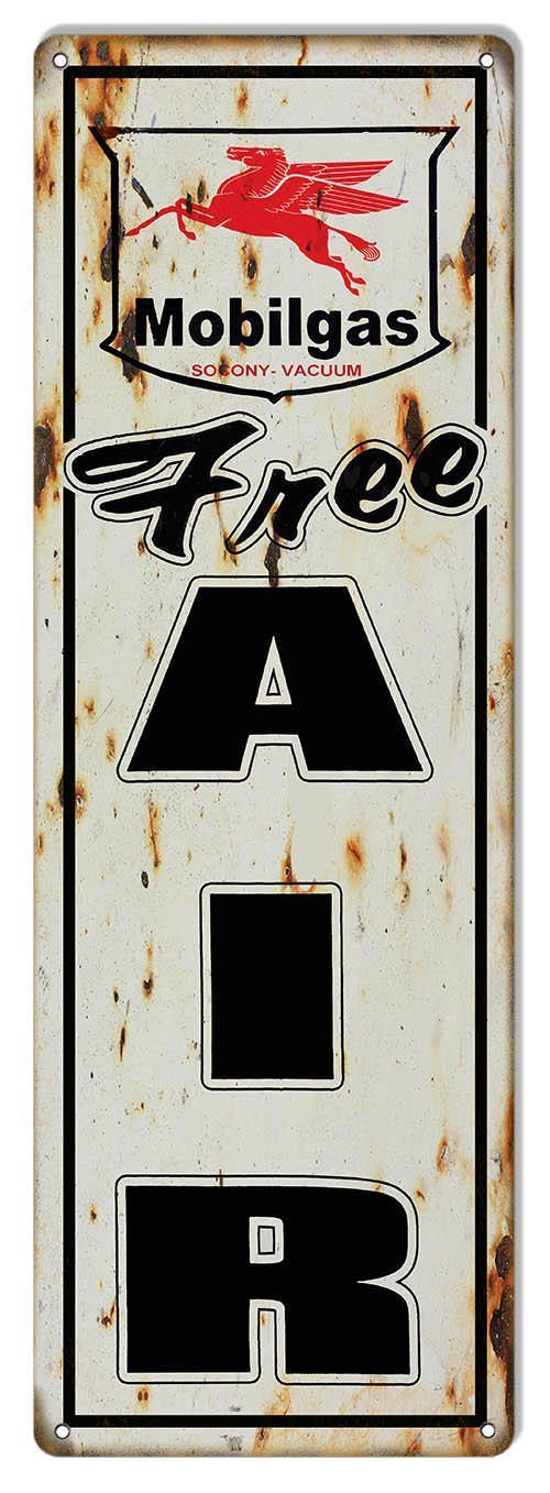 Mobilgas Free Air Sign, 8 x 24 inch Vinatage Aged Style 040 Gauge Metal, USA Made Vintage Style Retro Garage Art RG6642L by HomeDecorGarageArt on Etsy