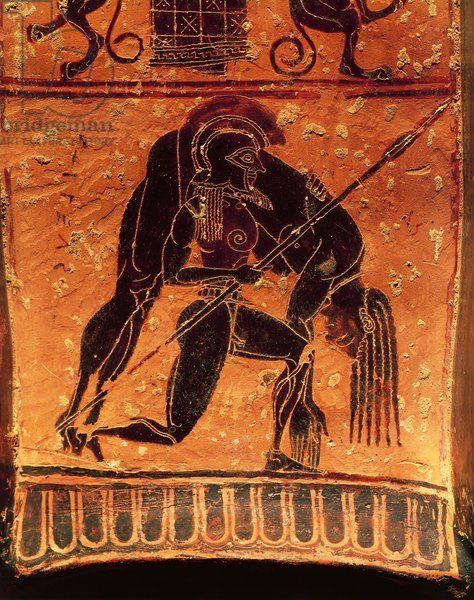 amphora ajax achilles body | ... , detail, Ajax Telamon carrying Achilles's dead body, 570-560 b.c