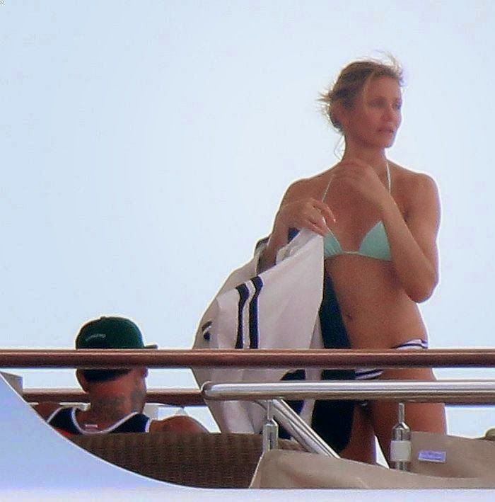The 41-year-old Cameron Diaz showed off her incredible anatomy in a blue two-piece as she soaked up the sun on the luxury yacht in Cannes, France on Thursday, July 24, 2014 with boyfriend, Benji Madden. (2 Videos and 40 PHOTOS)