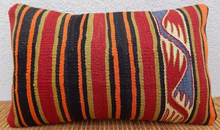 12x20'' ShabbyChic Cottage Decor Boho Kilim Lumbar Pillow Cover,Kelim Kisssen #Handmade