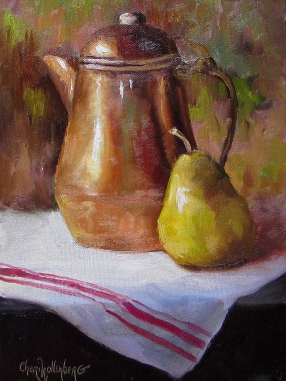 Art de toile nature morte, cuisine, théière en cuivre et or vert poire, peinture à l