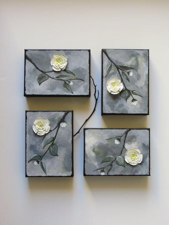 Acrylic painting, original canvas art, Magnolia at Dusk, white flower paintings, mixed media