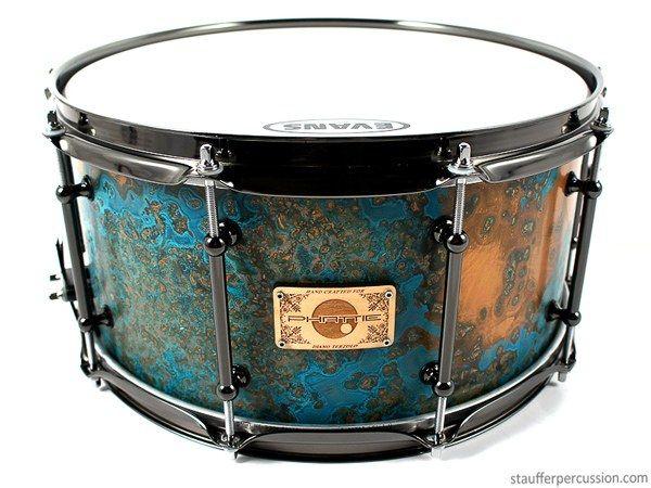 Custom azul copper patina snare drum from Stauffer Percussion.