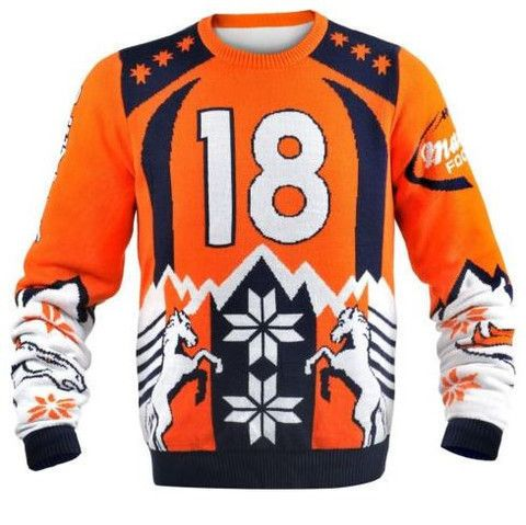 Arrive when you rock this horrible jumper to all of your holiday parties in style. It features allover Denver Broncos images that is certain to get the attentions all your buddies. Put in a small zany fashion to your own Denver Broncos wardrobe with this particular jumper!