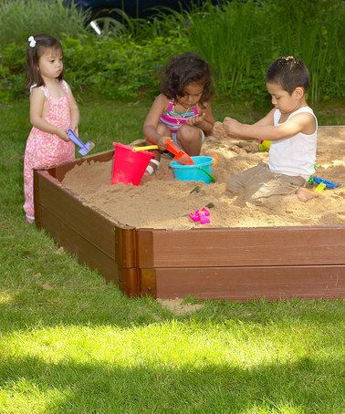 Sandbox Design Ideas sandbox lid lifts to shade lowers to protect the sand Frame It All 12 Deep Hexagonal Sandbox Set Sandbox Ideasplayground Designbackyard