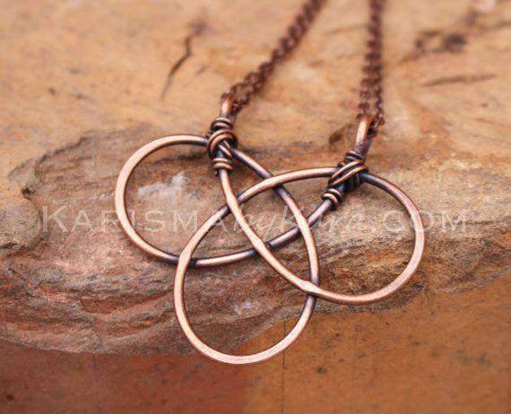 Celtic Knot. Oxidized Copper. Wire Jewelry by Karismabykarajewelry, $39.00