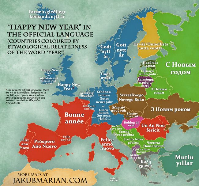 """Happy New Year!"" - echoed throughout #Europe in dozens of languages! It's fascinating to see how similar these words are in some äEuropean regions, but also how unique they are in specific countries. Do your neighbours say it in a similar way, or totally different?"