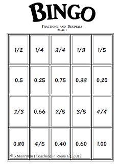 Fraction and Decimal Bingo                                                                                                                                                     Mais