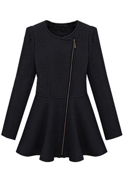 Oblique Zip Wild Black Coat