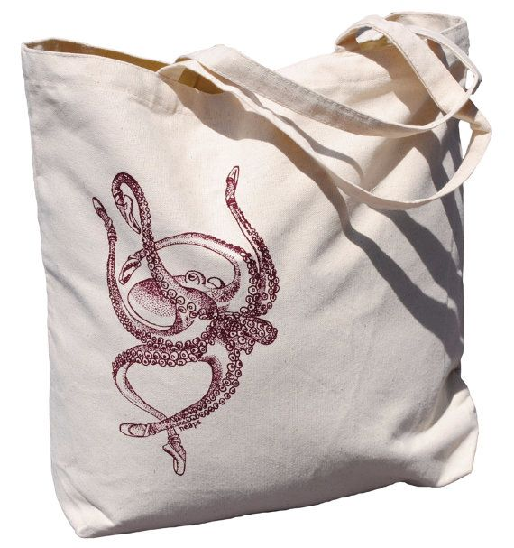 This premium quality reusable large beach tote features an image of an octopus with ballet shoes, silk screened by hand in burgundy ink. Its made of heavy weight natural cotton canvas that will hold up to everyday use. At 18 x 15 and 3 deep, its got plenty of room without being bulky. Use it for trips to the market, bridesmaid totes, gifts for wedding guests, shopping, going to the beach, traveling, or a quick-grab overnight tote. I personally hand draw all of my designs and hand-pull each…