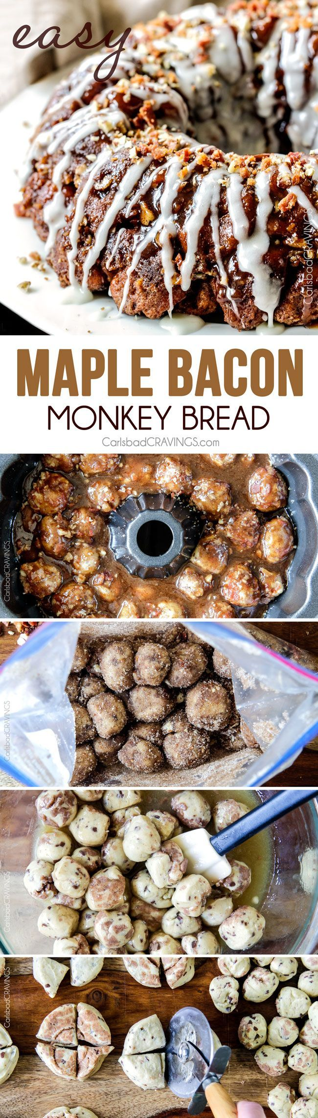 Maple Bacon Cinnamon Roll Monkey Bread made easy with refrigerated cinnamon rolls and made irresistible with maple crispy crumbled bacon, pecans and a maple caramel topping. The perfect special occasion breakfast, brunch or dessert!  #Christmas #Easter