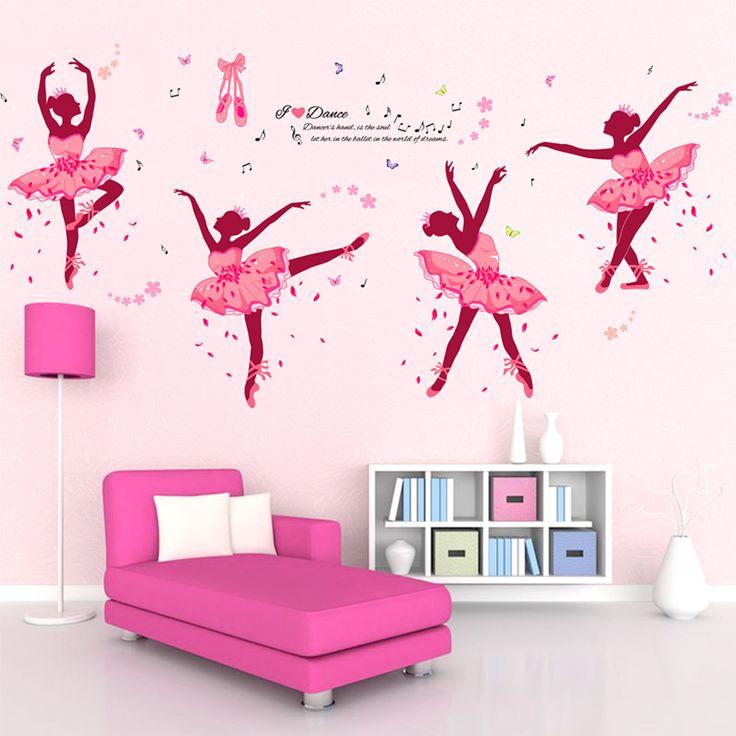 [SHIJUEHEZI] Ballet Dancers Girl Wall Stickers Vinyl DIY Butterflies Wall  Art For Dance Studio