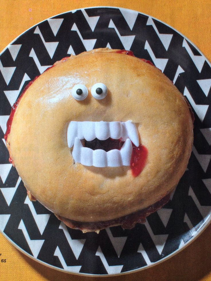 Make breakfast scary. Take bagel & put fake plastic teeth in the center with some strawberry jam blood.