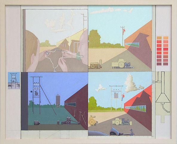 Leonard Rickhard <em>Fem landskap før og etter soloppgang</em><br />olje på lerret, 137x168 cm
