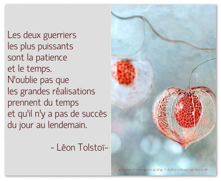 """""""Les deux guerriers les plus puissants sont la patience et le temps. N'oublie pas que les grandes réalisations prennent du temps et qu'il n'y a pas de succès du jour au lendemain."""" - Léon Tolstoï"""