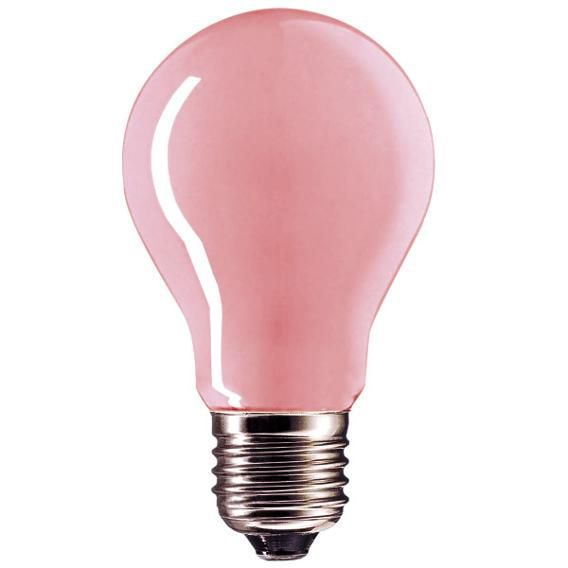 Don't be fooled by the color of this pink bulb, it is hardly detectible and these incandescent bulbs give off a warm, flattering rosy glow, perfect for setting the mood in a bedroom, dining room or bathroom. Giving off just as much light as a regular bulb, skin tones are enhanced and come alive.