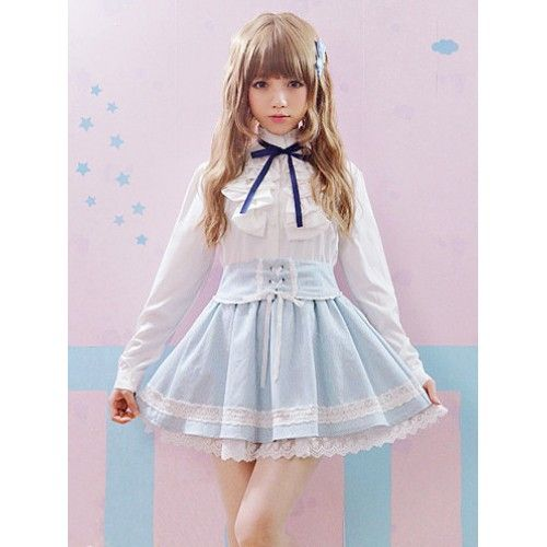 Super kawaii pinstripe blue pastel strap skirt with under layer lace hem and cute panda lace detail.  Features tie up detail on front and elasticated waist for a fantastic fit.