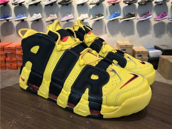 Nike Air More Uptempo GS 414962 700 Jaune Noir Chaussure Pinterest