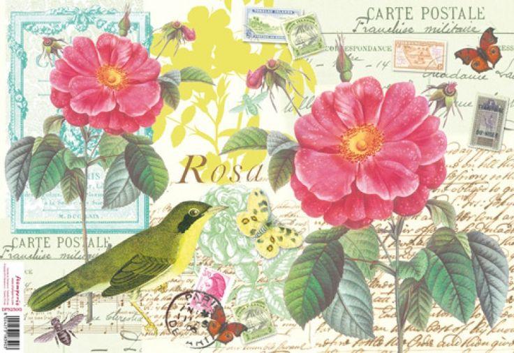 Stamperia Ριζόχαρτο Decoupage 48X33 cm Post Card Πουλάκι