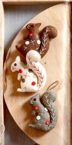Dotty Squirrel Ornaments - These amusing and eccentric wool felt ornaments draw their inspiration from mid-century modern textile design. Made from wool felt, with hanging strings and whipstitched edging in complimentary colors. Dotty Squirrel features sequin eyes, button dot and contrasting embroidered details, in three colors.